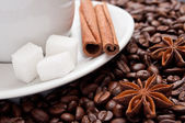 Cup of coffe with dried anis and cinnamon on beans background — Stockfoto