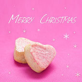 Christmas card with french heart pastry with marzipan — Stock Photo