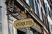 Antiquities shop panel — Stock Photo