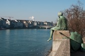 Rhine river in Basel in switzerland — Stock Photo
