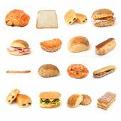 Bread bakery and sandwiches collage — Stock Photo