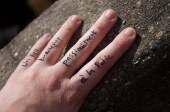 Love word on the hand — Stock Photo