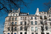 Parisian building with trees in spring — Stock Photo