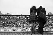 PARIS - France - 17 February 2012 - couple  in the bridge of arts in paris — Foto Stock