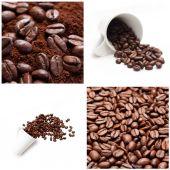 咖啡与豆概念拼贴 — 图库照片