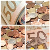 Euro coins and banknote closeup background collage — Stock Photo