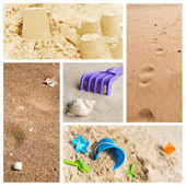 Sandcastle in the beach collage — Stock Photo