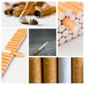 Stop cigarettes collage — Stock Photo
