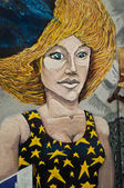 MULHOUSE - France - 08 June 2015 -  graffiti of witch during the BOZAR graffiti festival - quay of sinners in Mulhouse — Stock Photo