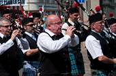 Mulhouse - France - 14 june 2015 - scottish musicians during the demonstration for peace — Stock Photo