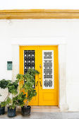 The classical architecture of the Mediterranean (Greece, Italy, Spain, Cyprus, Portugal).  Wooden yellow door on the white buildings and plants. Postal box — 图库照片