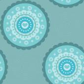 Ornamental circle seamless pattern teal blue — Vettoriale Stock