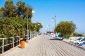 Wooden pier for yachts in Larnaca port, Cyprus. — Foto de Stock