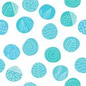 Seamless stylish hand drawn pattern. Patterned circles on white background. Vector illustration — 图库矢量图片