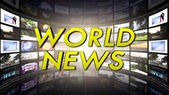 World News Text in Monitors Room — Stock Photo