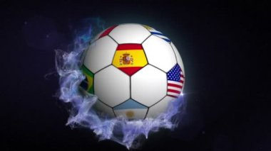 World Flags on Soccer Ball — Stock Video
