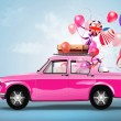Retro car with balloons — Stock Photo #53438859