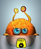 Cartoon furry orange monster — Stockfoto