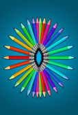 Color Crayons palette and children drawing — Stock Photo