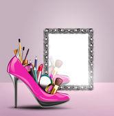 Cosmetics in woman shoe — Stock Photo