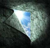 Blue sky with sunlight through the hole in stone room. — Stok fotoğraf