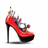 Cosmetics in woman shoe — Stock fotografie
