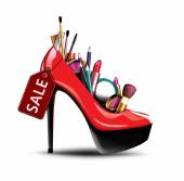 Cosmetics in woman shoe — Stockfoto