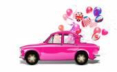 Retro auto s balónky — Stock fotografie
