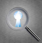 Magnifying optical glass with Keyhole — Stock Photo
