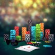 Poker Chips, sunglasses and cards — Stock Photo #53441151