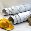 Blueprints, house model and construction equipment — Stock Photo #53442479