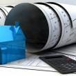 Blueprints, house model and construction equipment — Stock Photo #53442511