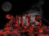 New year 2015 made from lava. — Stockfoto