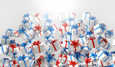 Red and blue 3d Gift boxes — Stock Photo