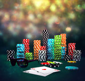 Poker Chips, sunglasses and cards — Stok fotoğraf
