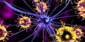 Viruses attacking nerve cells — Stock Photo