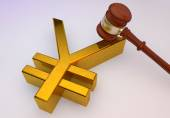 3d yen golden sign with wooden Law gavel — Stock Photo