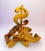 US dollar over a pile of Pound, Euro,Yen — Stock Photo