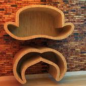 Bookshelf in shape of hat and mustache — Foto de Stock