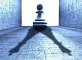 Chess pawn with the shadow of a king — Stock Photo