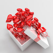 Present box with hearts — Stock Photo