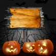 Halloween design - pumpkins in forest with blank board — Stock Photo