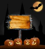 Halloween design - pumpkins and blank board. — Zdjęcie stockowe