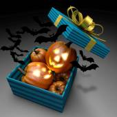 Pumpkins in present box. Halloween design. — Zdjęcie stockowe