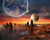 Alien Planet With planets, Earth Moon And Mountains . — Stock Photo