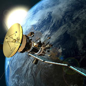 Satellite orbiting the earth — Stock Photo