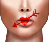 Valentines Day Heart Kiss on the Lips. Lipstick Love Makeup. Bea — Stock Photo