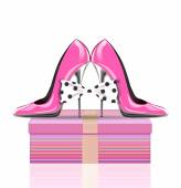 High heel shoes with bow, symbol mothers day, woman's day, valentines day — Stock Photo