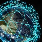 Internet Concept of global business and major air routes based on real data. Highly detailed planet Earth at night, surrounded by a luminous network, 3d render. — Stock Photo
