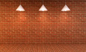 Blank wall with place for text illuminated by lamps above,3d render — Stock fotografie